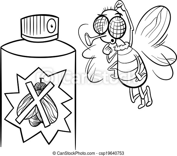 Clipart Vector Of Fly And Bug Spray Coloring Page