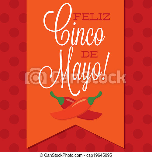 Retro style Cinco de Mayo (Happy 5th of May) card in vector format. - csp19645095