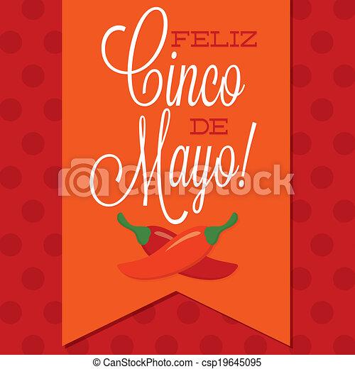 Retro style Cinco de Mayo (Happy 5th of May) card in vector format. - csp19645095
