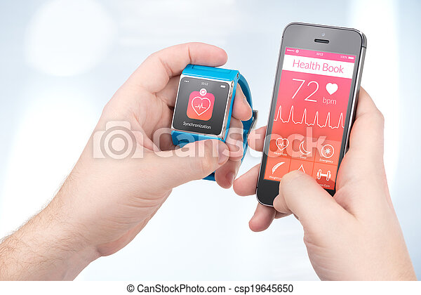 Data synchronization of health book between smartwatch and smartphone in male hands - csp19645650