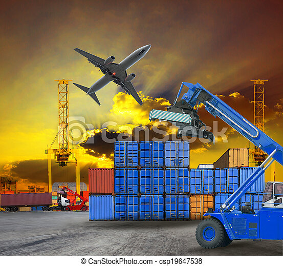 container and port ship yard scene logistic service by truck ,land transport and air plane cargo use for transportation industry business and port freight trading service industrial