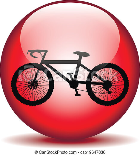 Bicycle icon on round internet button - csp19647836