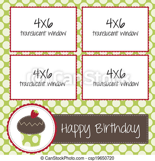 cupcake scrapbooking template for birthday or bakery - csp19650720