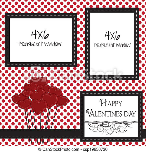 valentine scrapbooking template with heart balloons - csp19650730