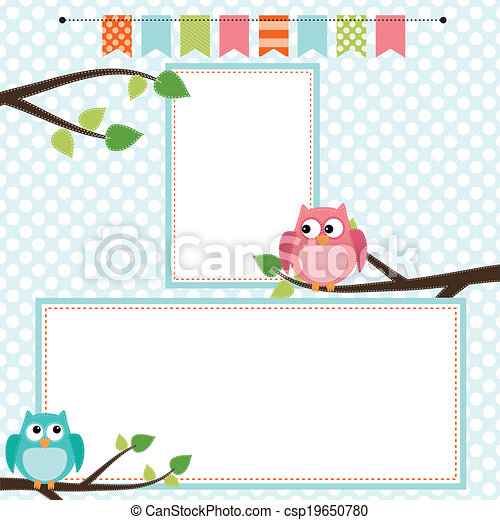Owl scrapbooking template with banner or bunting - csp19650780