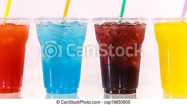 Multi-color cool soft drink