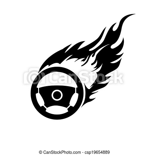 Black and white burning automobile steering - csp19654889