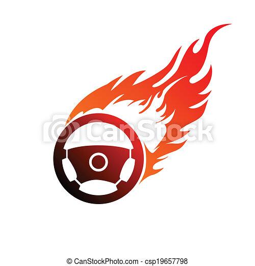 symbol burning automobile steering - csp19657798