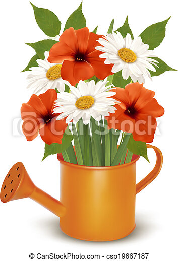 Vector of Summer flowers in a watering can Vector
