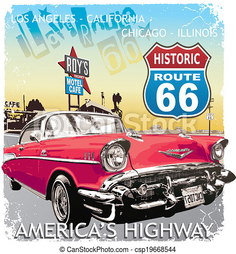 EPS Vector Of Route 66 Classic Car