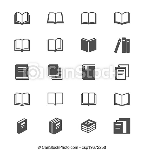 Clipart Vector of book flat icons - Simple vector icons. Clear and ...