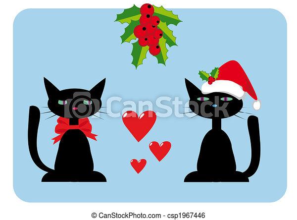 Stock de Ilustraciones , gatos, navidad, Ilustración, dos