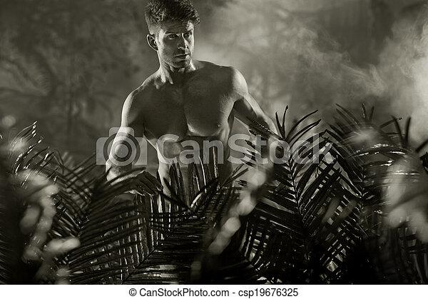 desnudo, foto, modelo, black&white, macho - csp19676325