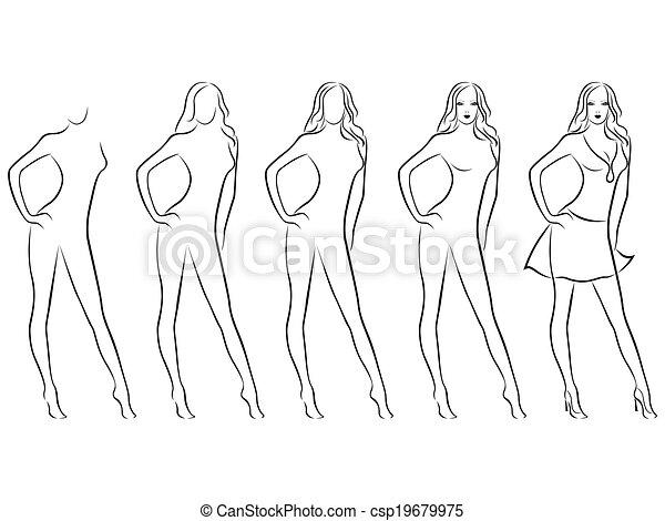 Illustrations vectoris es de beau dessin contour femme - Dessin contour ...