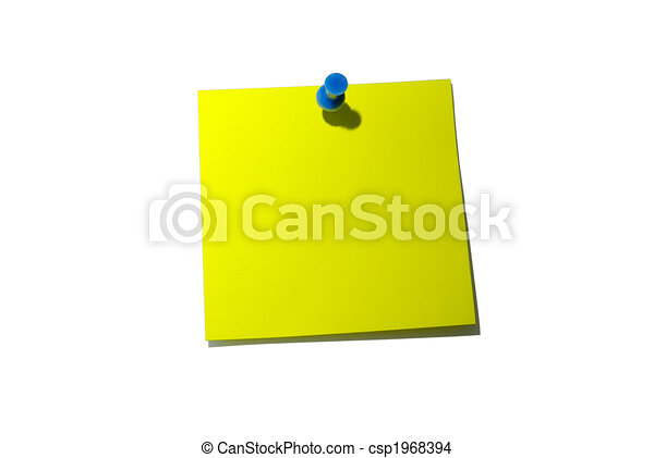 Note paper. Yellow sticky note. With shadow and clipping path. - csp1968394