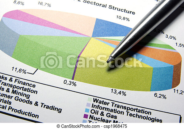 Steel pen and financial data. - csp1968475