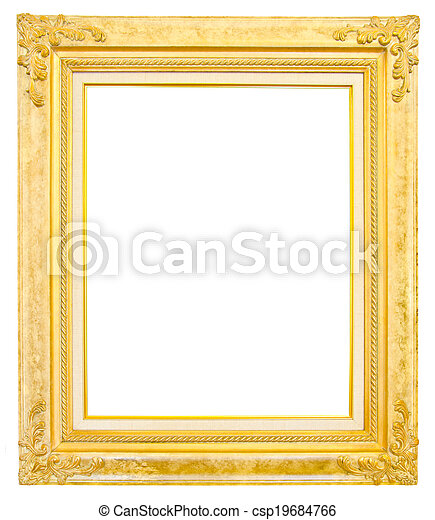 antique gold frame isolated on white background - csp19684766