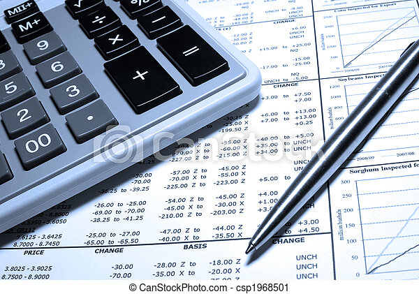 Calculator, steel pen and financial data with graphs. - csp1968501