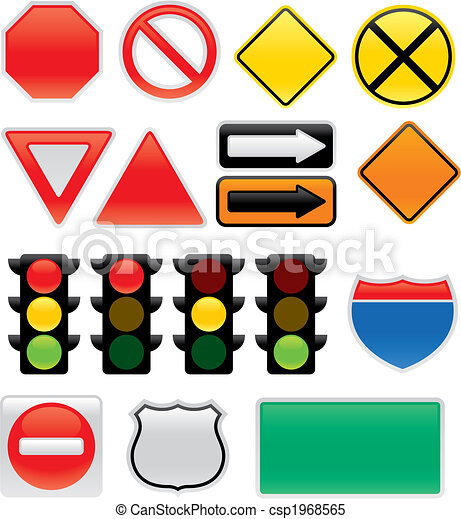 Traffic an Map Signs and Symbols - csp1968565