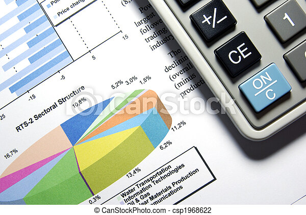 Calculator and printed stock data with diagrams. - csp1968622