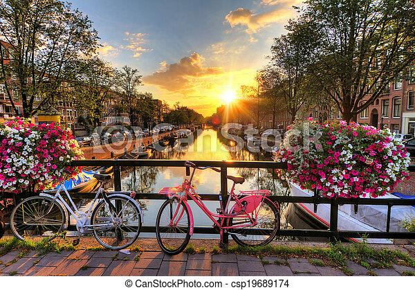 Amsterdam summer sunrise - csp19689174