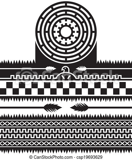 Vector Illustration of native american pattern art - graphic art ...