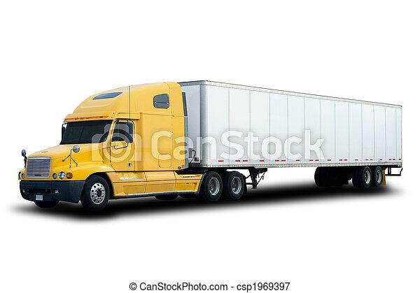 Yellow Semi Truck - csp1969397