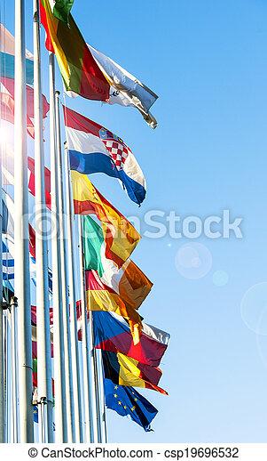 EU Member flags in front of European Prliament - csp19696532
