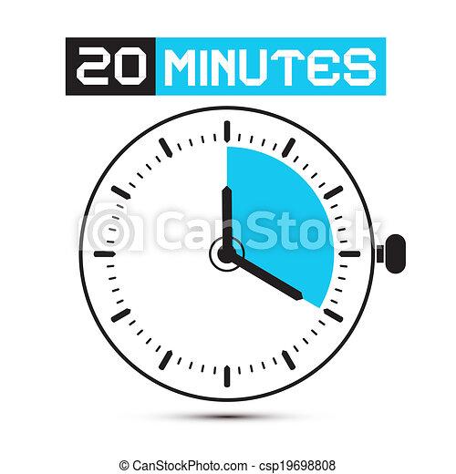 Twenty Minutes Stop Watch - Clock Vector Illustration - csp19698808