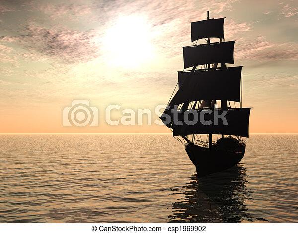 Ship out at sea early morning. - csp1969902