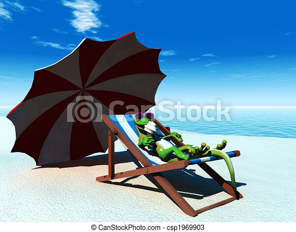 Cool cartoon gecko relaxing on the beach. - csp1969903