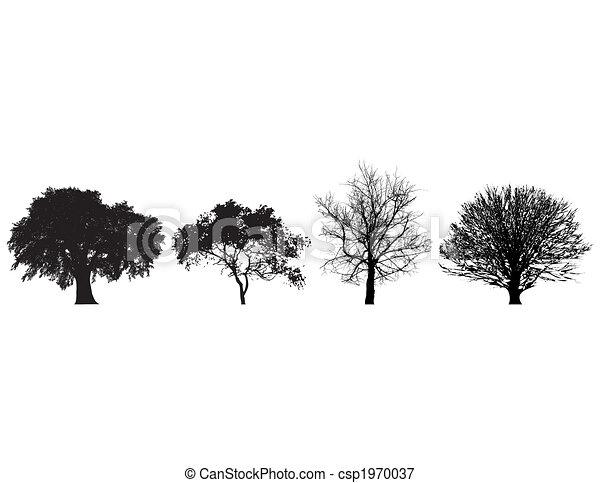 Illustrations vectoris es de quatre blanc noir arbres for Dessin graphique noir et blanc