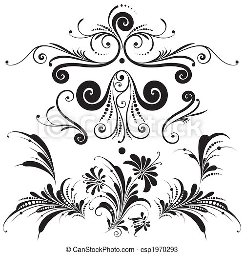 Decorative Floral Design Elements - csp1970293
