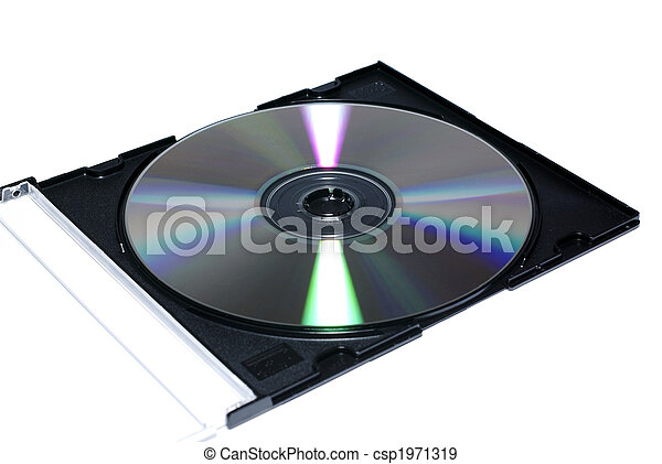 Opened jewel case with recordable disc. Isolate on white. - csp1971319