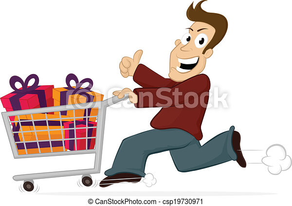 Vectors Illustration of Shopping Rush - Excited happy man running ...