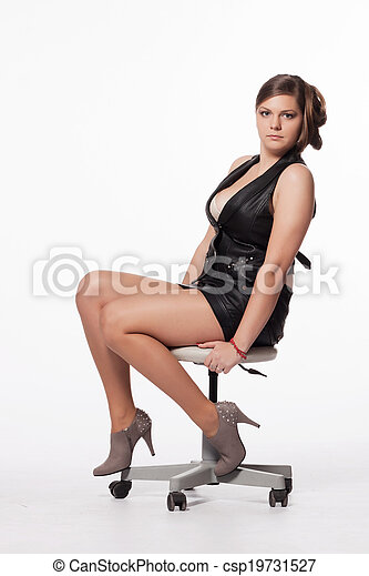 Young Woman In Leather Jacket Miniskirt Royalty Free Stock Photo Csp19731527