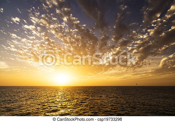 Beautiful sunrise over the sea. - csp19733298