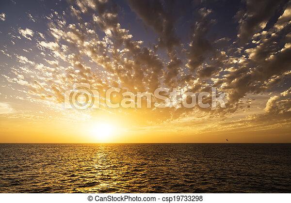 Beautiful sunrise over the sea. - csp19733298