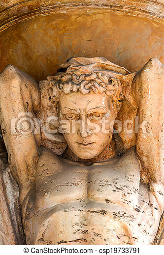Antique ancient marble sculpture sky atlas holds - csp19733791