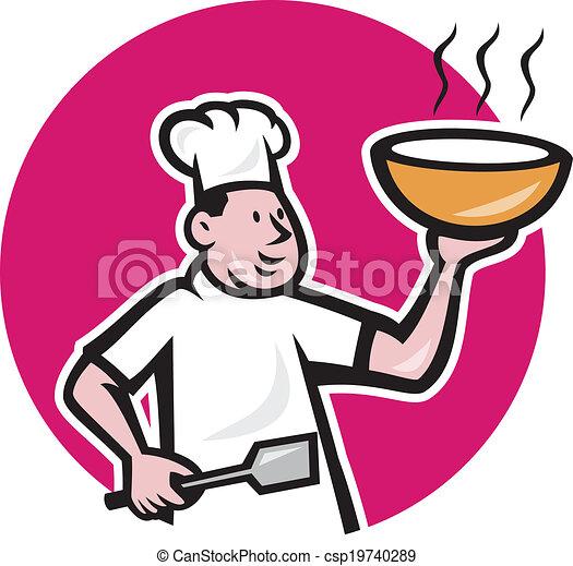 Cartoon Fat Chef Fat Chef Cook Holding Bowl