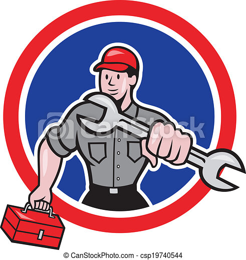 Illustration of a mechanic with spanner wrench carrying toolbox facing ...