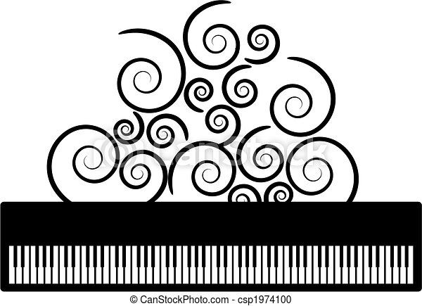 Piano with swooshes vector - csp1974100