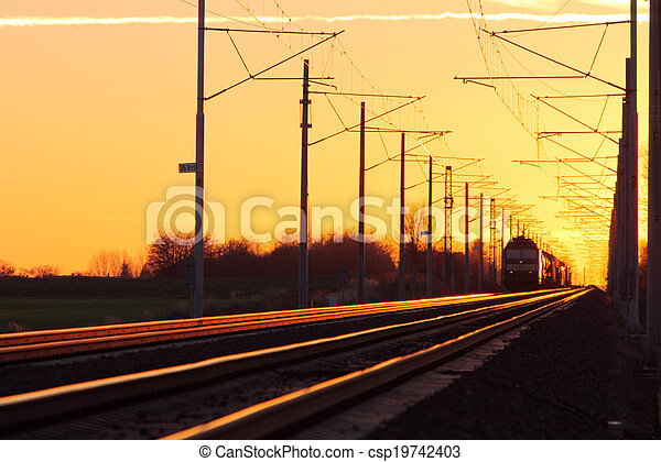 cargaison, chemin fer,  train - csp19742403
