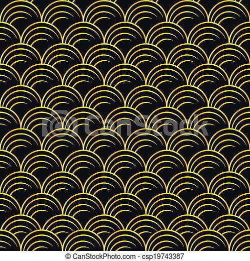 art deco golden seamless pattern - csp19743387