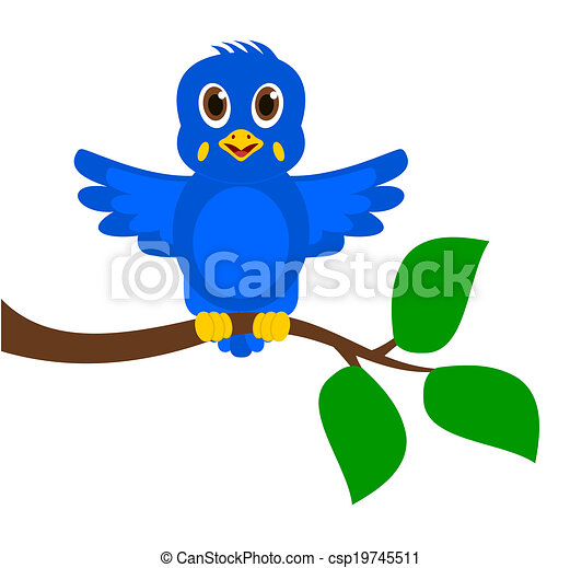 exotic blue bird on a branch