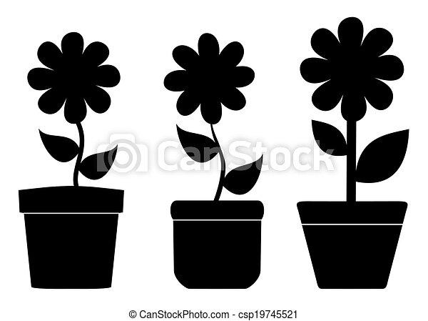 Ilustra o vetorial de sombra flor potes flor potes com sombra csp19745521 pesquisar - Flores de sombra ...