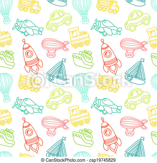 Transport toy seamless pattern - csp19745829