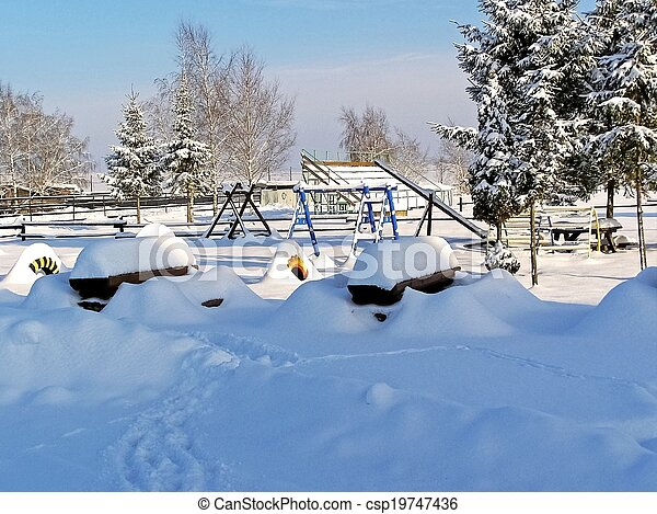 Park for rest and relaxation in the winter.