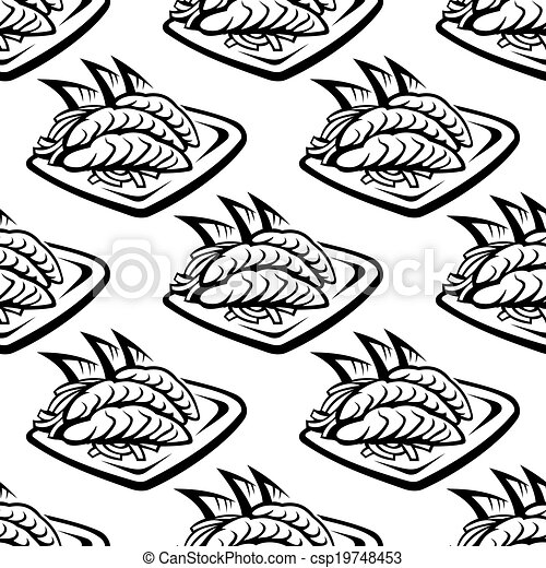 Japan food seamless pattern - csp19748453