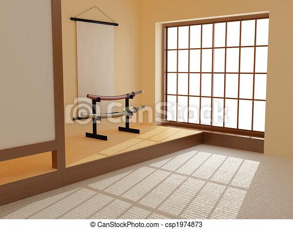 zeichnungen von japanisches zimmer hoch aufl sung bild csp1974873 suchen sie clipart. Black Bedroom Furniture Sets. Home Design Ideas